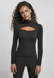 URBAN CLASSICS Dámske tričko s dlhým rukávom Cut-Out Turtleneck čierne Pohlavie: dámske, Velikost: 3XL