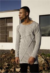 Pánske tričko URBAN CLASSICS Fashion Long Terry Crew grey melange