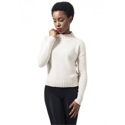 URBAN CLASSICS LADIES CHENILLE TURTLENECK CREW LIGHT SAND