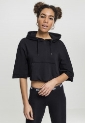 URBAN CLASSICS LADIES CROPPED HOODED PONCHO BLACK