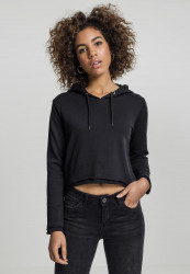 URBAN CLASSICS LADIES CROPPED TERRY HOODY BLACK
