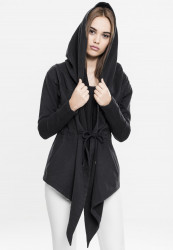 URBAN CLASSICS LADIES HOODED SWEAT CARDIGAN BLACK