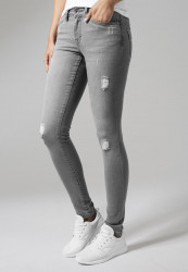 URBAN CLASSICS LADIES RIPPED DENIM PANTS GREY