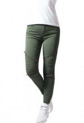 URBAN CLASSICS LADIES STRETCH BIKER PANTS OLIVE