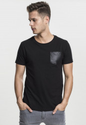 Pánske tričko s krátkym rukávom URBAN CLASSICS LEATHER IMITATION POCKET TEE BLK/BLK