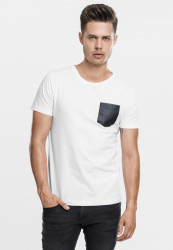 Pánske tričko s krátkym rukávom URBAN CLASSICS LEATHER IMITATION POCKET TEE WHT/BLK