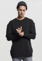 Pánske tričko URBAN CLASSICS Long 2 in 1 Terry Crew black