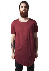 Pánske tričko URBAN CLASSICS Long Open Edge Front Zip burgundy
