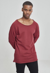 Pánske tričko URBAN CLASSICS Long Open Edge Terry Crewneck burgundy