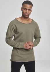Pánske tričko URBAN CLASSICS Long Open Edge Terry Crewneck olive