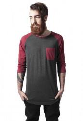Pánske tričko URBAN CLASSICS LONG RAGLAN 3/4 SLEEVE POCKET TEE CHA/BURGUNDY