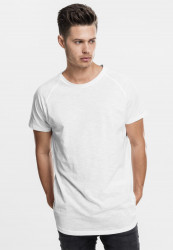 Pánske tričko URBAN CLASSICS Long Shaped Slub Raglan white