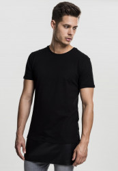 Pánske tričko Urban Classics Long Zipped Leather Tee Black