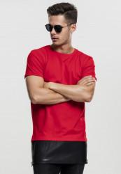 Pánske tričko URBAN CLASSICS Long Zipped Leather Imitation Bottom red/blk