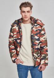 URBAN CLASSICS Pánska zimná bunda Hooded Puffer Jacket rustycamo
