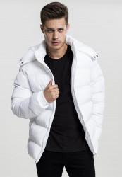 URBAN CLASSICS Pánska zimná bunda Hooded Puffer Jacket white Farba: Biela,