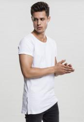 Urban CLASSICS Pánske tričko s krátkym rukávom Long Shaped Side Zip Tee biele