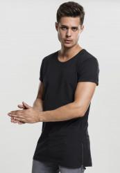 Urban CLASSICS Pánske tričko s krátkym rukávom Long Shaped Side Zip Tee čierne