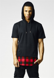 URBAN CLASSICS PEACHED FLANELL BOTTOM SLEEVELESS HOODY BLK/BLK/RED