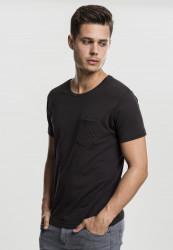 Pánske tričko URBAN CLASSICS QUILTED POCKET TEE BLK/BLK