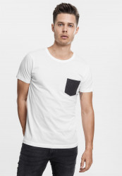 URBAN CLASSICS QUILTED POCKET TEE WHT/BLK