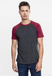 Pánske tričko URBAN CLASSICS RAGLAN CONTRAST TEE CHA/BURGUNDY