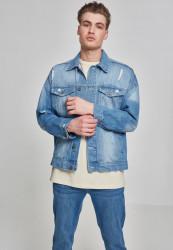 Pánska bunda URBAN CLASSICS Ripped Denim Jacket bleached