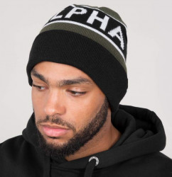 Zimná čiapka Alpha Industries Block Beanie dark green