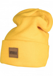 Zimná čiapka Urban Classics Leatherpatch Long žltá
