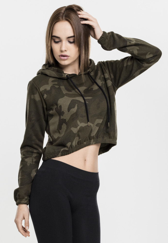 Dámska crop top mikina URBAN CLASSICS Ladies Camo Cropped Hoody