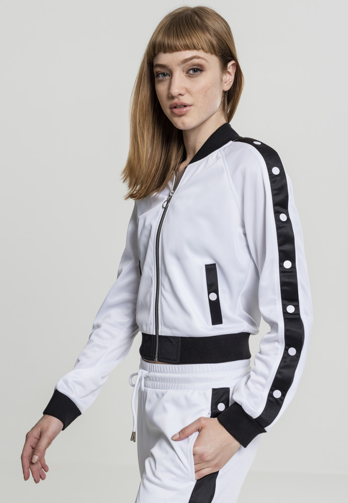 Dámska mikina na zips URBAN CLASSICS Ladies Button Up Track Jacket wht blk  wht 5723524e7e4