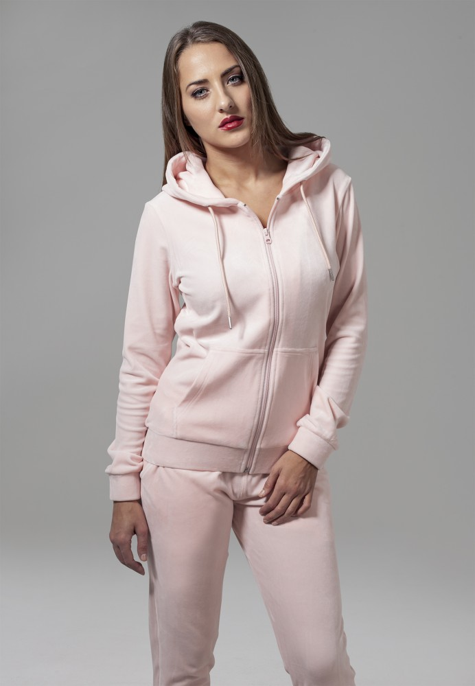 Dámska mikina na zips Urban Classics Ladies Velvet Zip Hoody ružová ... 05ccc5ccc29
