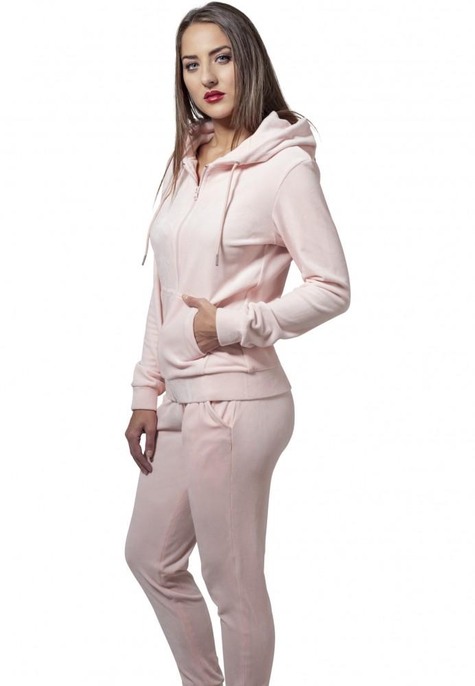 Dámska mikina na zips Urban Classics Ladies Velvet Zip Hoody ružová ... 158ed4f9803
