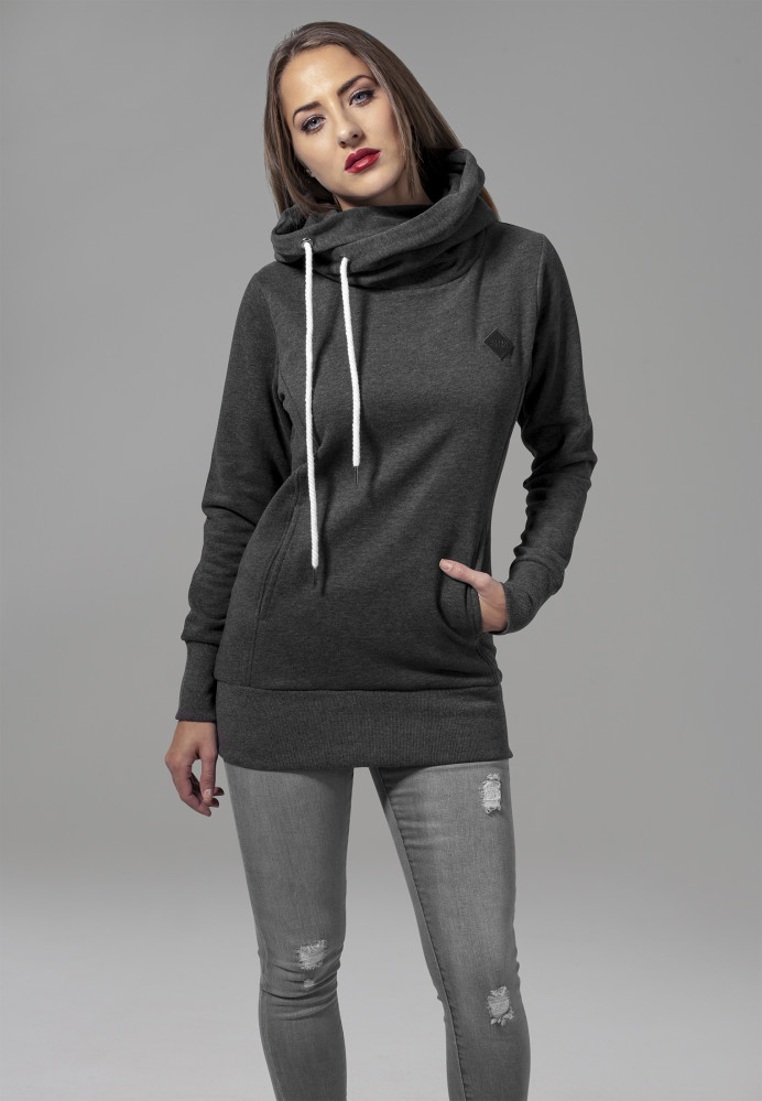 Dámska mikina URBAN CLASSICS LADIES LONG LOGOPATCH HOODY Charcoal