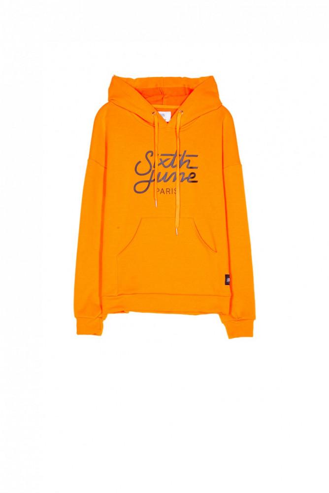 Dámska oranžová mikina s kapucňou Sixth June Logo - Dámske mikiny ... 13e111d70a