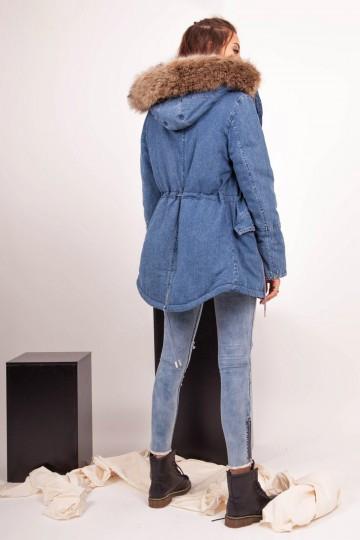 11f5a45294 Dámska riflová bunda na zimu Sixth June Denim Big Fur Parka - Dámske ...