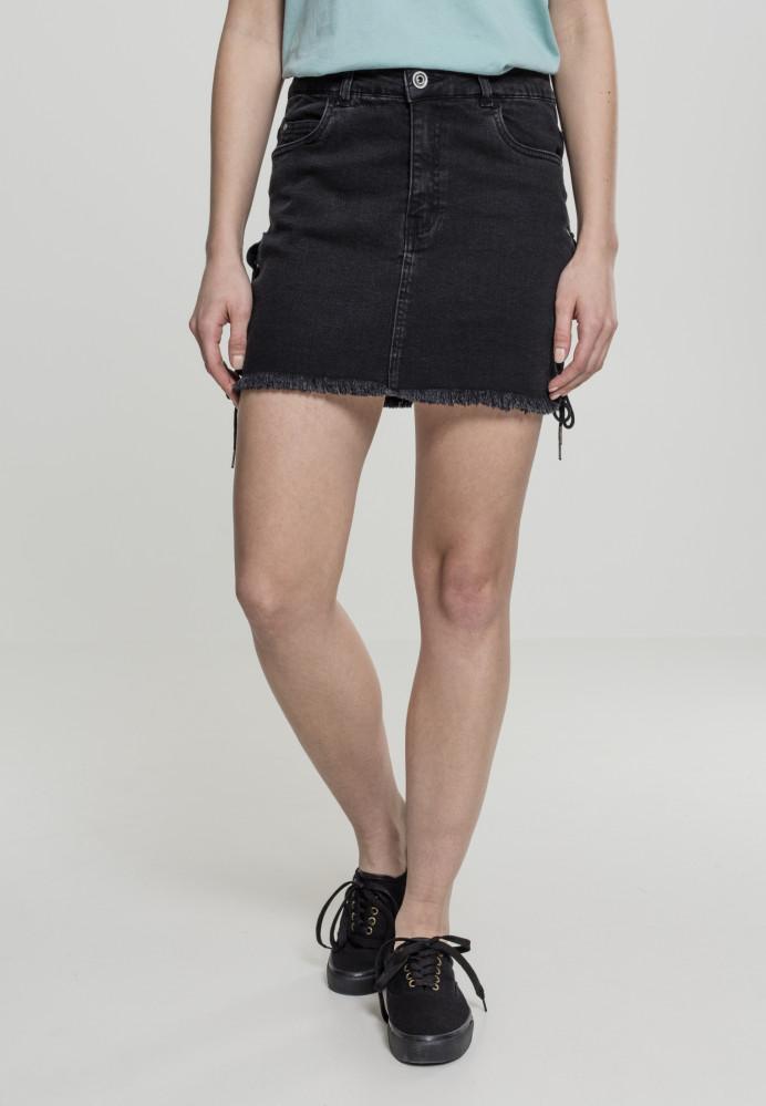 4d72be5640 Dámska riflové sukňa URBAN CLASSICS Ladies Denim Lace Up Skirt black ...