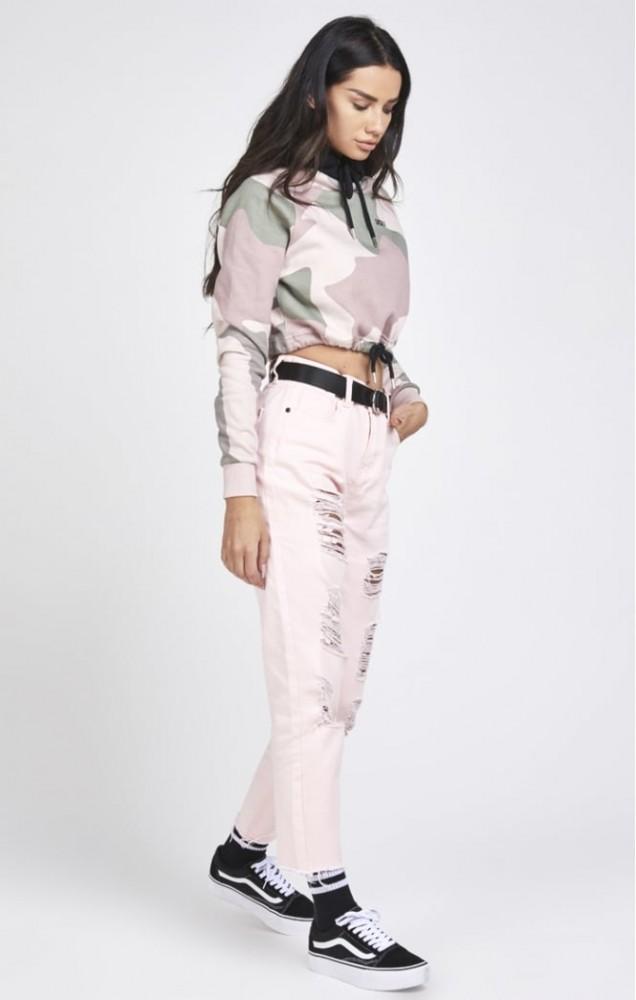 Dámska ružová crop top mikina s dlhým rukávom Sik SIlk - Dámske ... f9eb674f550