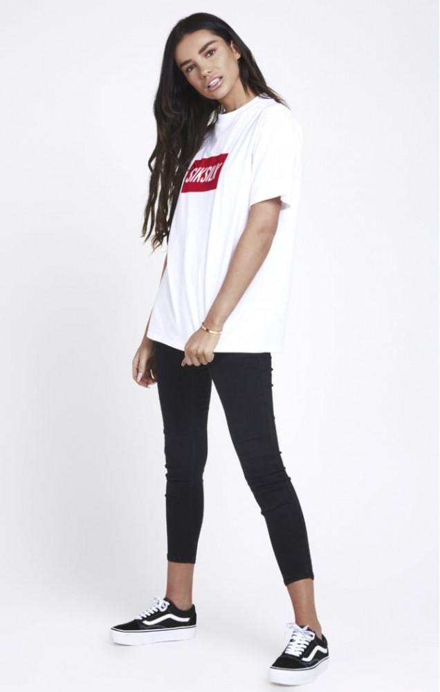 cca53450dc33 Dámske biele tričko s krátkym rukávom Sik Silk Retro - Dámske tričká ...