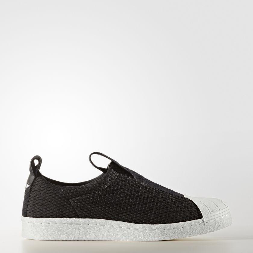 Dámske čierne textilné tenisky Adidas Originals Superstar BW3S SlipOn 51e85bde656