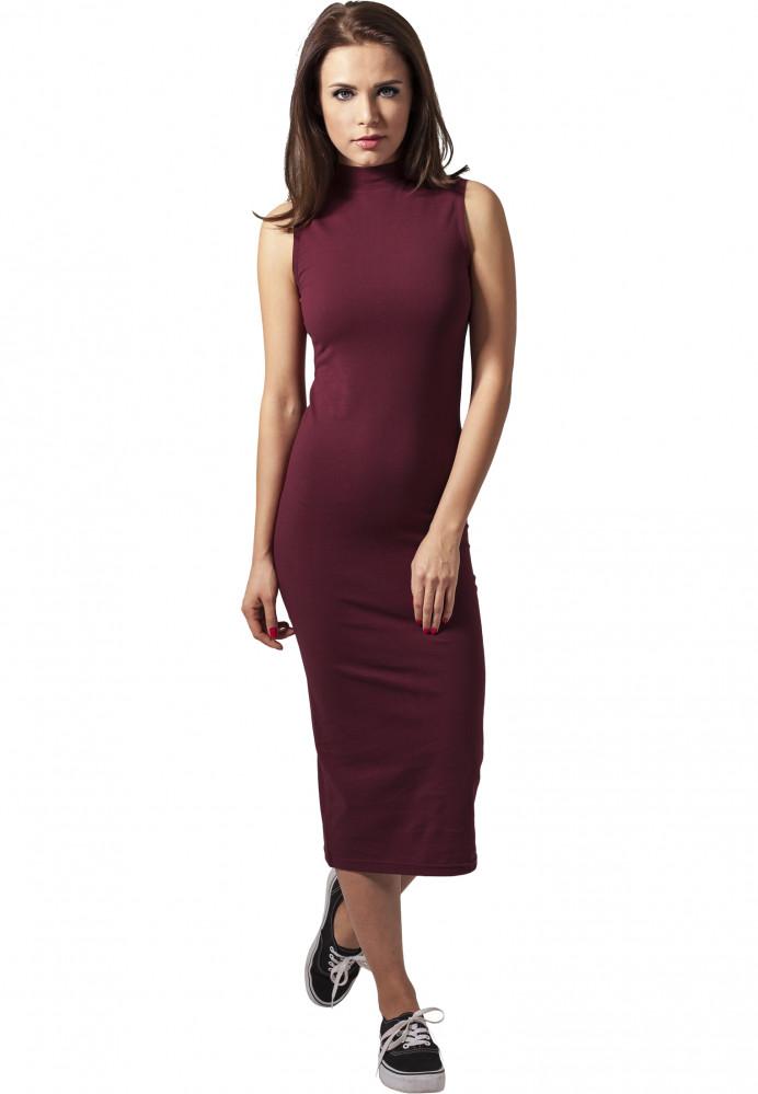 Dámske šaty URBAN CLASSICS Ladies Stretch Jersey Turtleneck Dress bordová