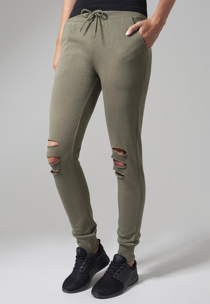2b6362d12168 Dámske tepláky s dierami URBAN CLASSICS Ladies Cutted Terry Pants olivové