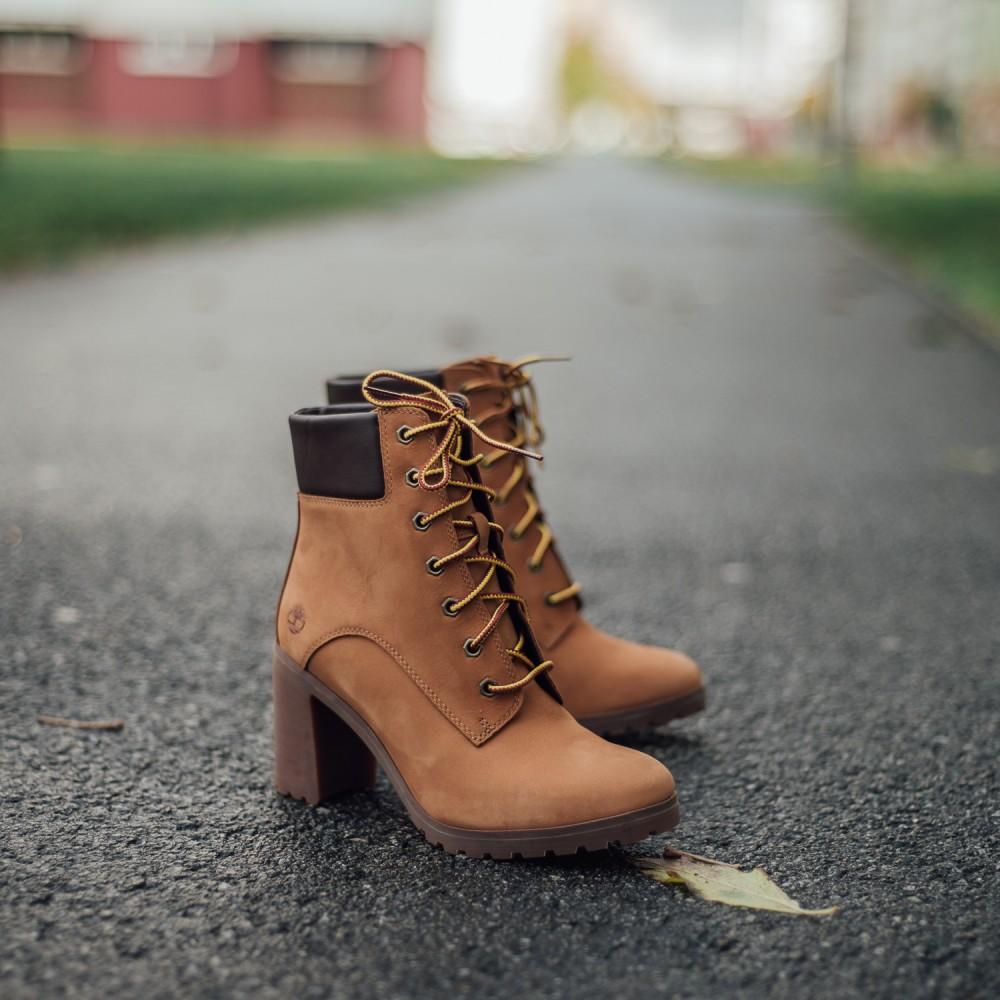 a2f94e435999 Dámske žlté kožené zimné topánky na opätku Timberland Allington 6-INCH  4