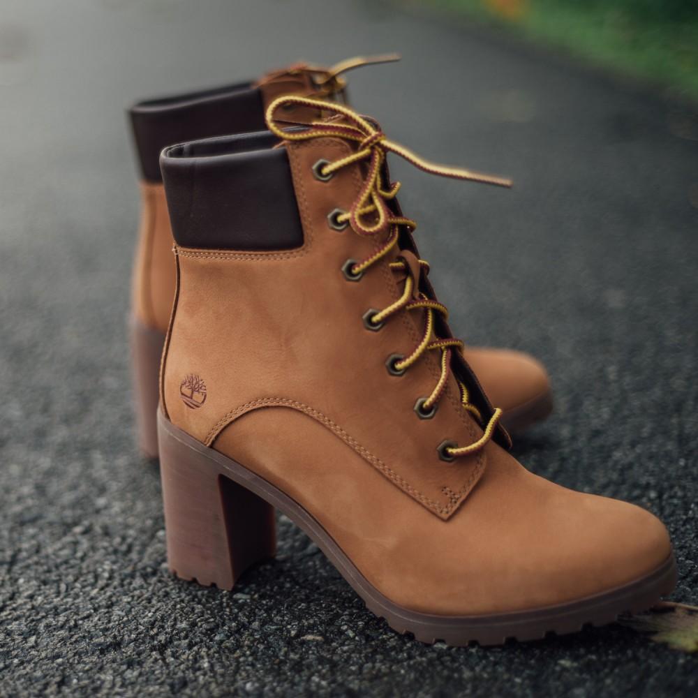 Dámske žlté kožené zimné topánky na opätku Timberland Allington 6-INCH  6 add84c8851c