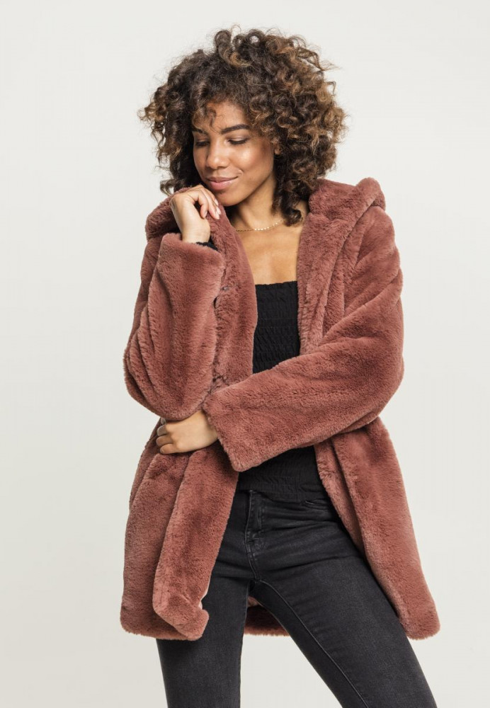 Dámsky kabát URBAN CLASSICS Ladies Hooded Teddy Coat darkrose