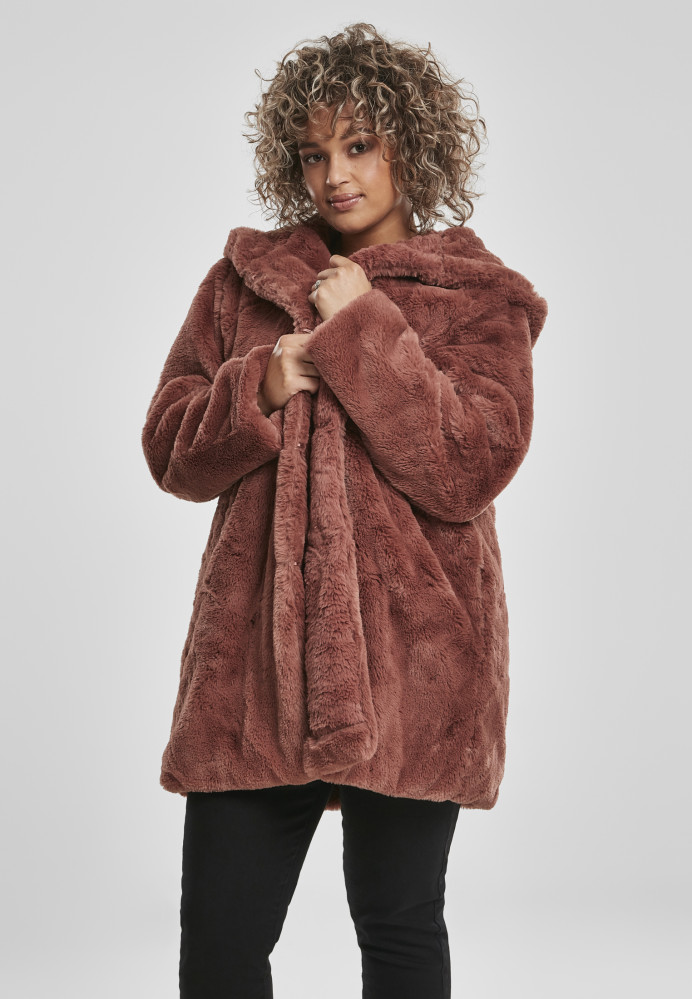 Dámsky kabát URBAN CLASSICS Ladies Hooded Teddy Coat darkrose