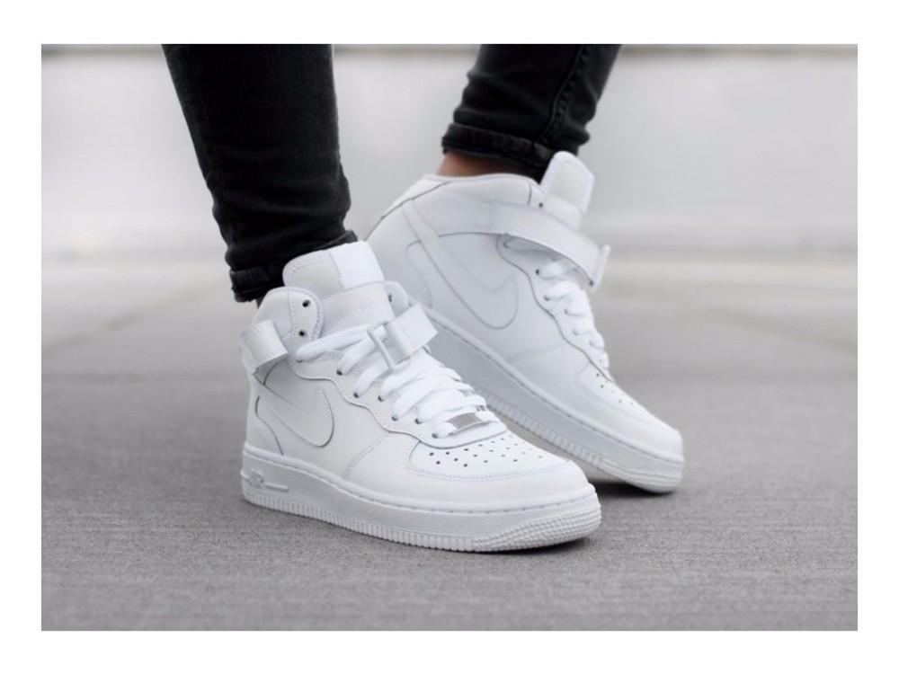 Detské tenisky Nike Air Force 1 Mid (GS) White White - Dámske ... 4aa42c50206