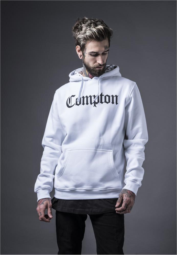 MR.TEE Pánska mikiny bez zipsu Compton Hooded Bandana Hoody Farba: white,