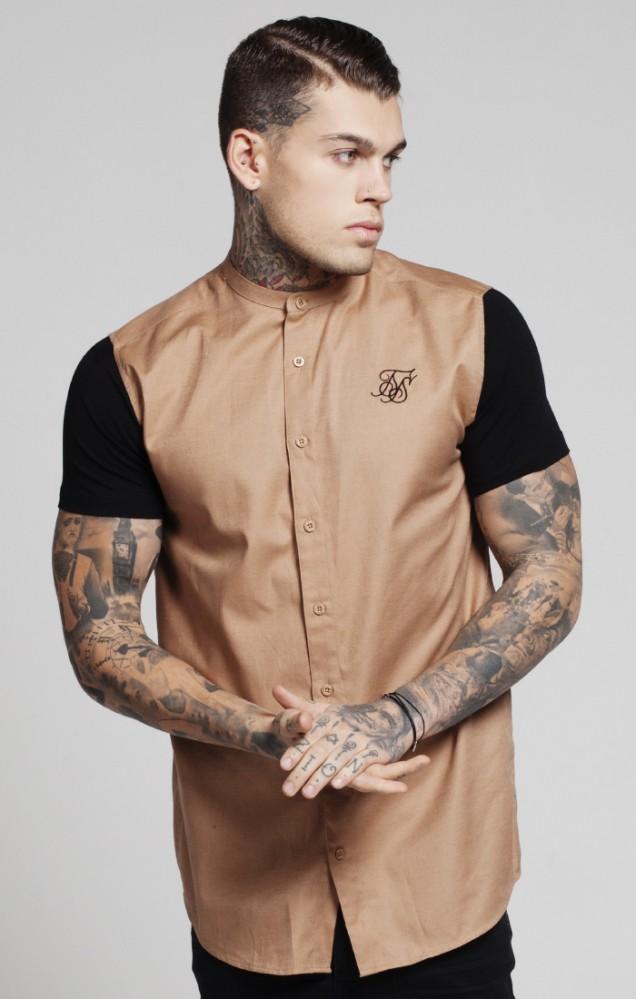 acce2901adf7 Pánska béžová košeľa s krátkym rukávomm Sik Silk