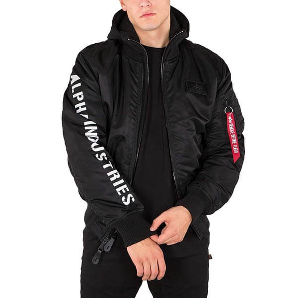 Pánska bunda s kapucňou Alpha Industries MA-1 D-Tec SE Jacket Black
